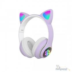 Fones De Ouvido Gatinha Bluetooth 5.0 Baixo Ruído Headseat Roxo